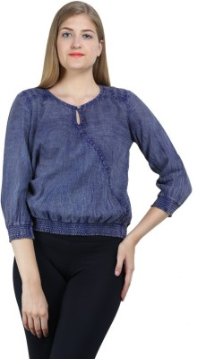 Bainy Casual 3/4 Sleeve Solid Women,s Blue Top