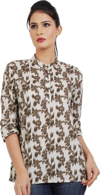 Dhrohar Casual 3/4 Sleeve Floral Print Women,s White, Brown Top