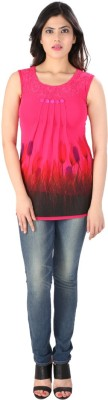 Dovekie Casual Sleeveless Self Design Women's Pink Top