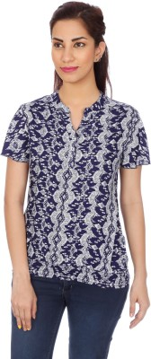 Clodentity Formal Short Sleeve Printed Women's Blue Top