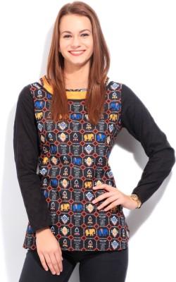 Imara Casual Full Sleeve Geometric Print Women's Black Top