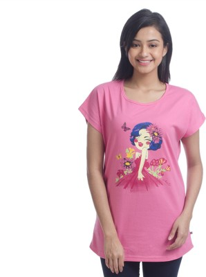 Nite Flite Casual Short Sleeve Graphic Print Women's Pink, Multicolor Top