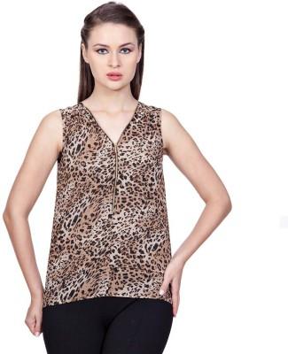 Stylestone Casual, Formal, Lounge Wear, Beach Wear, Party Sleeveless Animal Print Women's Brown, Black Top