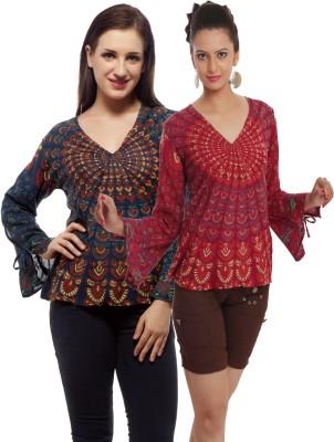 Indi Bargain Casual, Party, Formal, Beach Wear Full Sleeve Printed, Floral Print Women's Dark Blue, Maroon Top