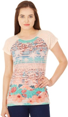 Monte Carlo Casual Short Sleeve Printed Women's Multicolor Top