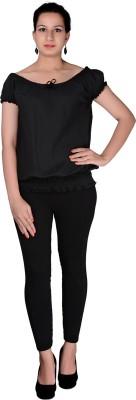 Uttam Enterprises Party Short Sleeve Solid Women's Black Top