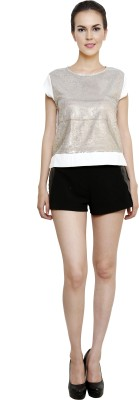 I Am For You Casual Cap Sleeve Embellished Women's White, Silver Top at flipkart