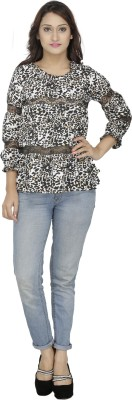 M Expose Casual 3/4 Sleeve Printed Women's Multicolor Top