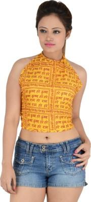Vritti Beach Wear Sleeveless Printed Women's Yellow Top