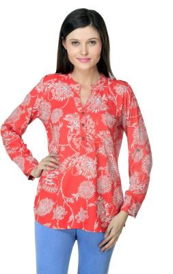 Lqqke Casual Full Sleeve Printed Women's Orange Top