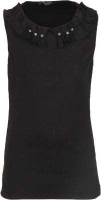 Cool Quotient Casual Sleeveless Self Design Girl's Black Top