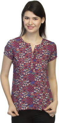 Primo Knot Casual Short Sleeve Printed Women's Red Top
