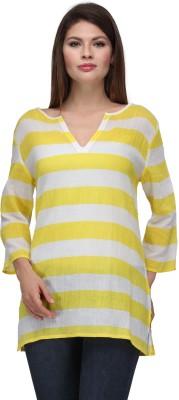 Gloria Casual 3/4 Sleeve Striped Women's White, Yellow Top