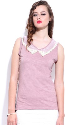 D Muse by DressBerry Casual Sleeveless Solid Women's Pink Top