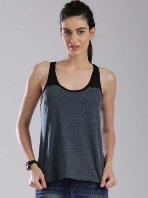 HRX by Hrithik Roshan Casual Sleeveless Solid Women's Grey Top