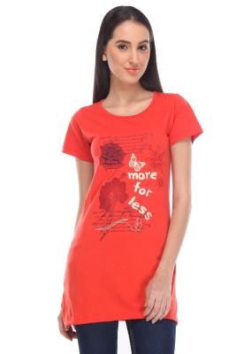 Rose Taylor Casual Short Sleeve Printed Women's Orange Top