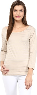 Trend18 Casual Full Sleeve Striped Women's Beige Top