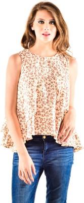 Oshea Casual Sleeveless Floral Print Women,s Beige Top