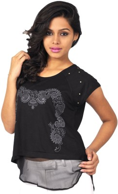 Riot Jeans Casual Short Sleeve Printed Women's Black Top