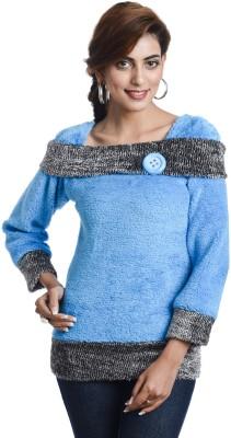 TeeMoods Casual Full Sleeve Self Design Womens Blue Top
