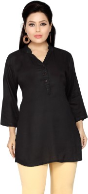 Belinda Casual, Party, Lounge Wear Roll-up Sleeve Solid Women's Black Top