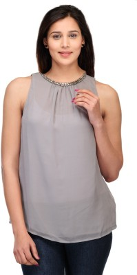 Lmode Casual, Party Sleeveless Solid Women's Grey Top