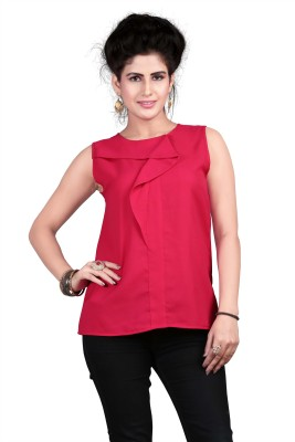 Ossi Casual Sleeveless Solid Women's Red Top