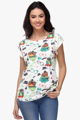 We Desi Casual Short Sleeve Printed Women's White Top