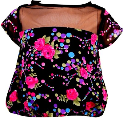 Toddla Casual Short Sleeve Printed Girl's Black Top