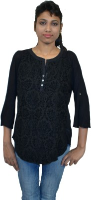 Niagra Casual 3/4 Sleeve Solid Women's Grey Top