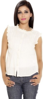 Simplona beau Casual Sleeveless Solid Women's White Top