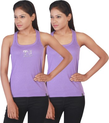 Twin Birds Casual Sleeveless Solid Women's Purple Top