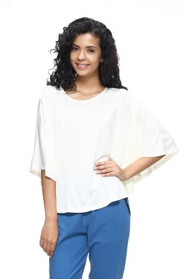 HANGNHOLD Casual 3/4 Sleeve Solid Women's White Top