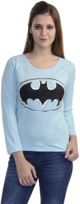 Batgirl Casual 3/4 Sleeve Printed Women's Grey Top