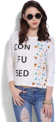 United Colors of Benetton Casual Full Sleeve Printed Womens Beige Top