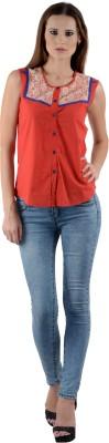 Dolla Women's Self Design Casual, Festive, Formal, Lounge Wear, Party, Sports, Wedding Red Shirt