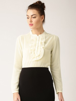 Dressberry Casual Full Sleeve Solid Women's White Top