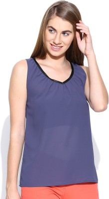 Rat Trap Casual Sleeveless Solid Women's Purple Top