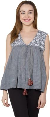 Vasstram Casual Sleeveless Checkered Women's Grey Top