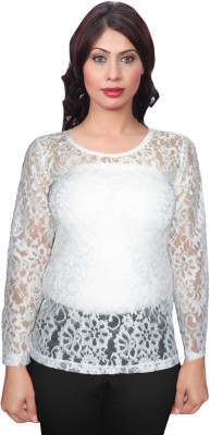 Selfcare Casual Full Sleeve Self Design Women's White Top