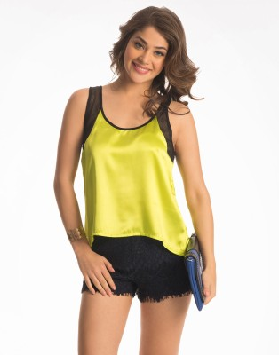 PrettySecrets Casual Sleeveless Solid Women's Yellow Top