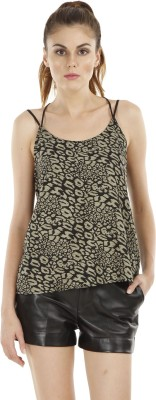 Fuziv Casual Sleeveless Printed Women's Green Top