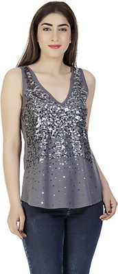 Gudi Party Sleeveless Embellished Women's Grey Top