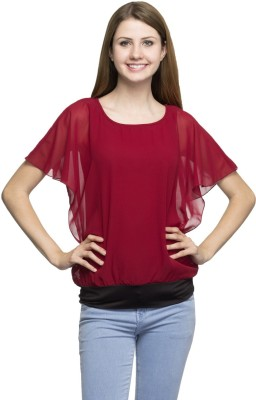 London Off Casual Kimono Sleeve Solid Women's Red Top