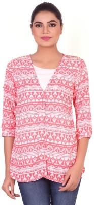 Pink Nine Casual 3/4 Sleeve Printed Women's Pink Top