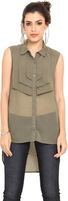 Label VR Casual Sleeveless Solid Women's Green Top
