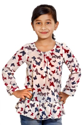 Maggie Formal Full Sleeve Self Design Girl's Multicolor Top