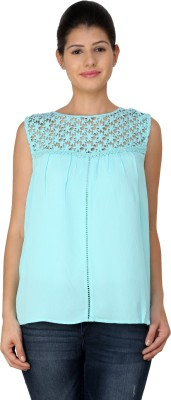 StyleToss Casual Sleeveless Solid Women's Blue Top