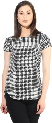 The Vanca Formal Short Sleeve Printed Women's Black Top at flipkart