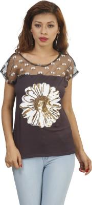 Naitik Casual Short Sleeve Graphic Print Women's Brown Top